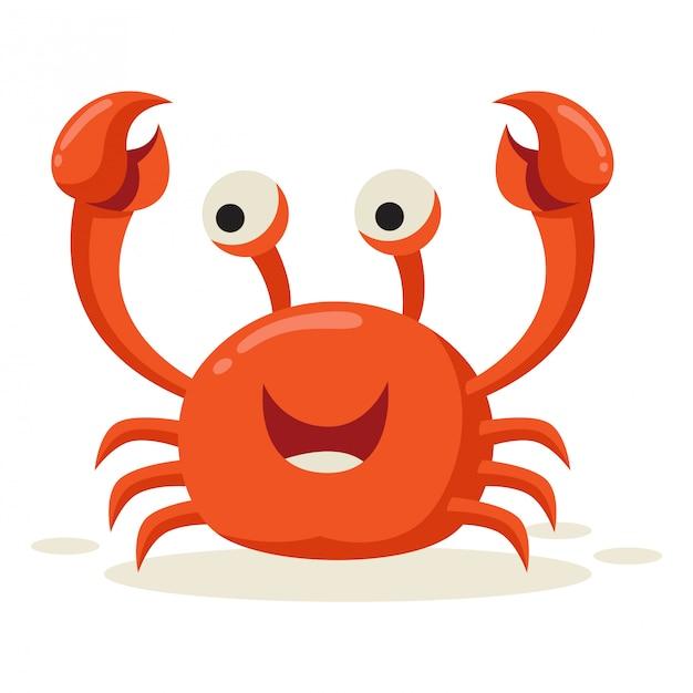 Um caranguejo parece feliz depois de ver a presa Vetor Premium