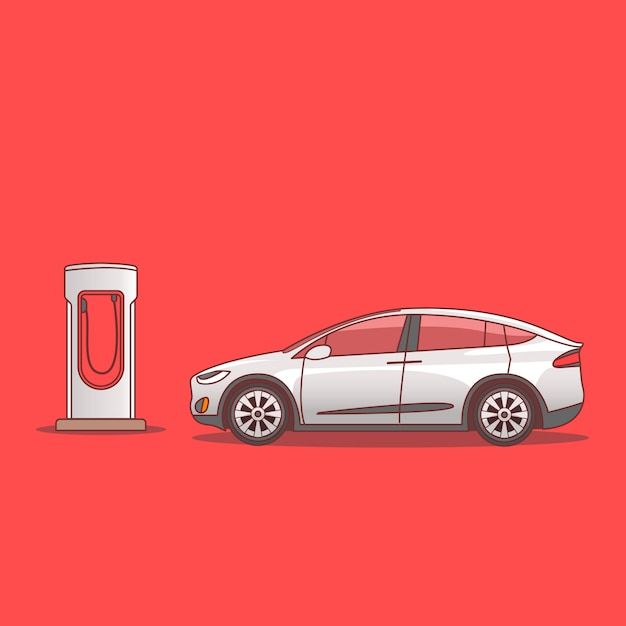 Um carro elétrico estacionado perto de uma estação de carregamento isolada em vermelho Vetor Premium