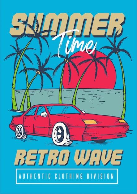 Um carro esporte retrô na praia tropical com pôr do sol e coqueiros na temporada de verão na ilustração de estilo retro dos anos 80 Vetor Premium