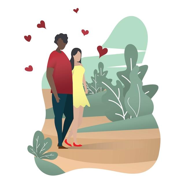 Um casal amante homem e mulher estão andando no parque verde. feliz dia dos namorados Vetor Premium