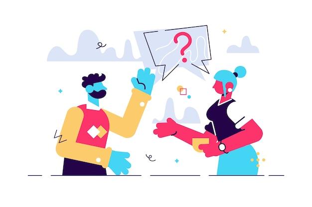 Um casal de homem e mulher tendo uma pergunta Vetor Premium