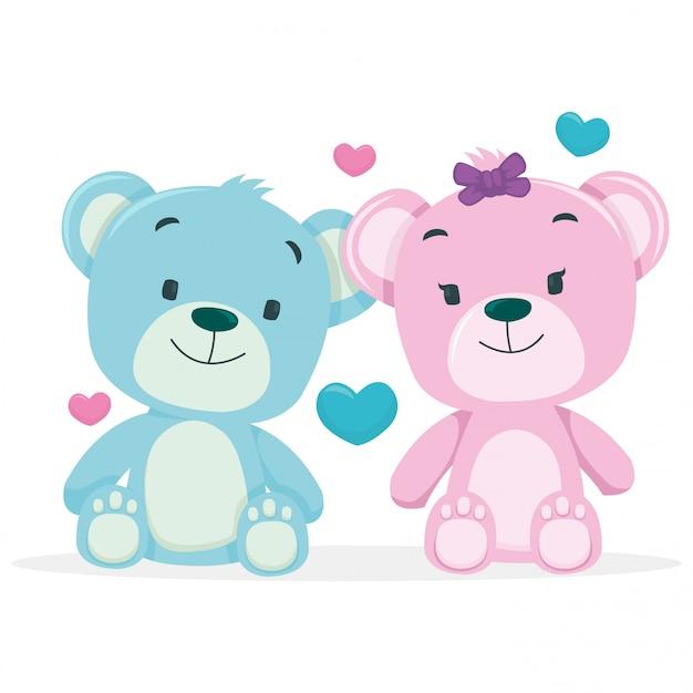 Um casal de ursos isolado no fundo branco Vetor Premium