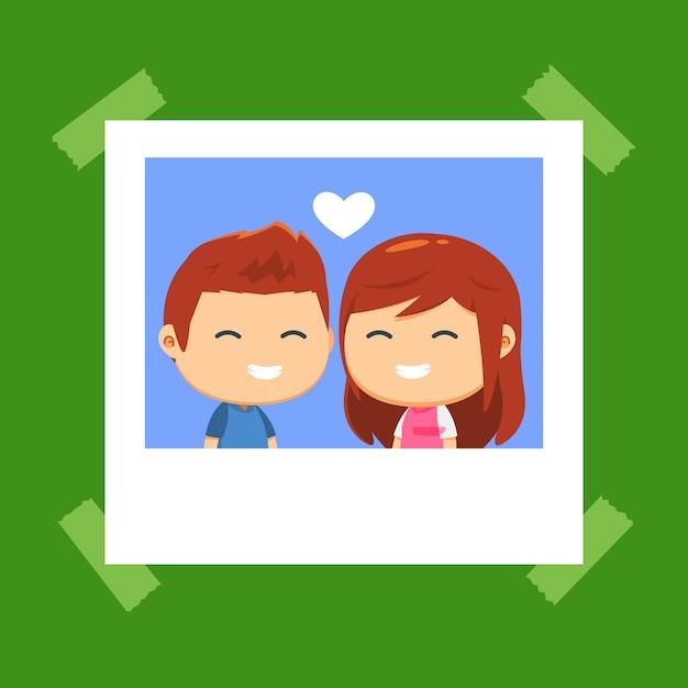Um casal está sorrindo juntos Vetor Premium