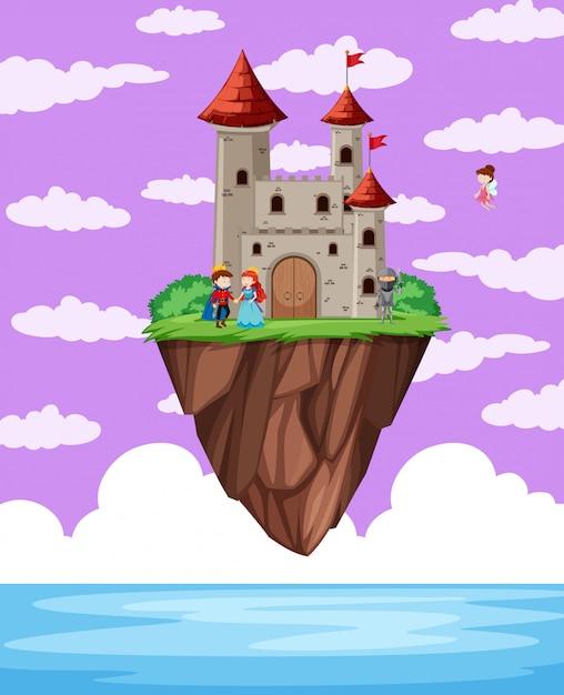 Um castelo acima do oceano Vetor grátis