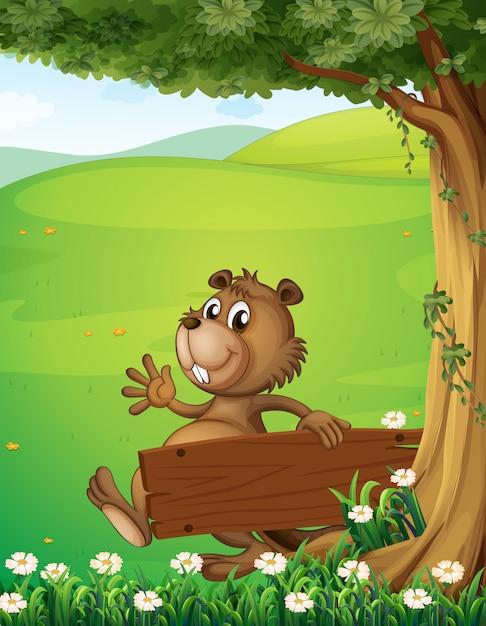 Um castor escapando com uma sinalização de madeira vazia Vetor grátis