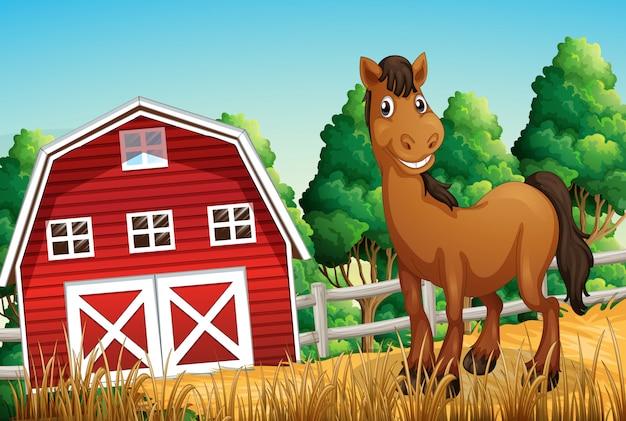 Um cavalo na fazenda Vetor grátis