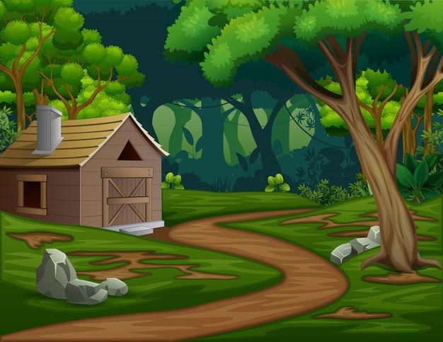 Um celeiro ou casa no meio da floresta Vetor Premium
