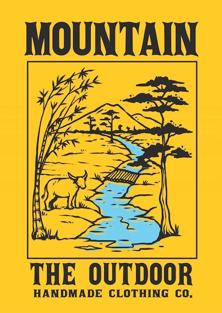 Um cenário da aldeia com uma montanha, um rio e um animal local Vetor Premium
