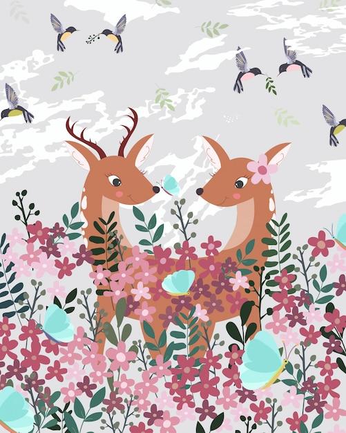 Um cervo dos pares no jardim cor-de-rosa. Vetor Premium