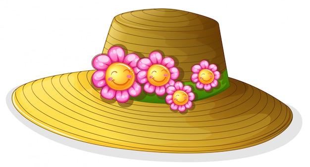Um chapéu com flores sorridentes Vetor grátis