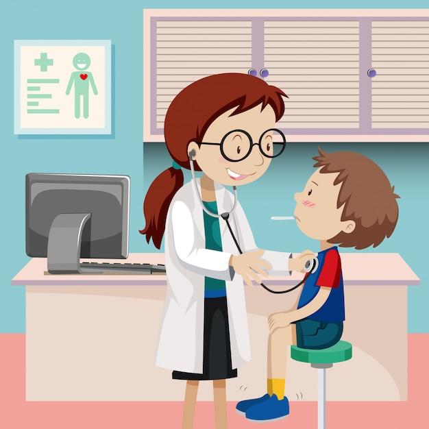Um checkup de menino no hospital Vetor grátis