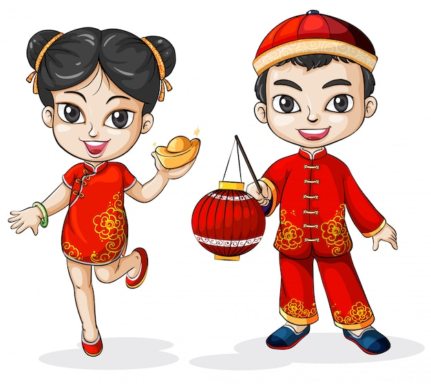 Um chinês masculino e feminino Vetor grátis