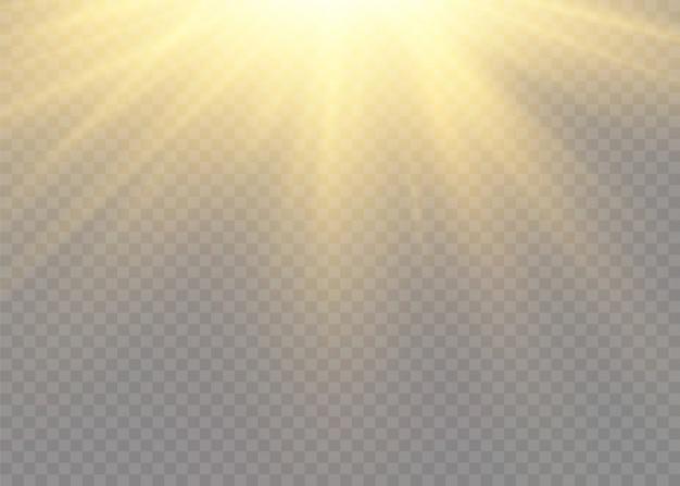 Um clarão de sol com raios e holofotes. a estrela estourou com brilho. luzes brilhantes amarelas raios de sol. Vetor Premium