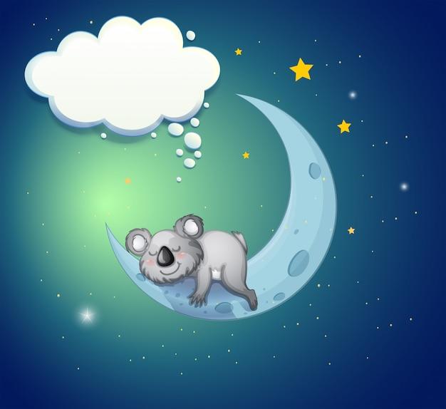 Um coala acima da lua Vetor Premium