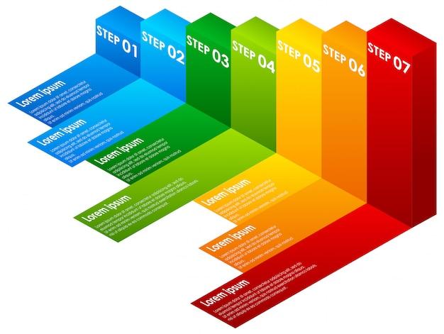 Um colorido infográfico passos Vetor grátis