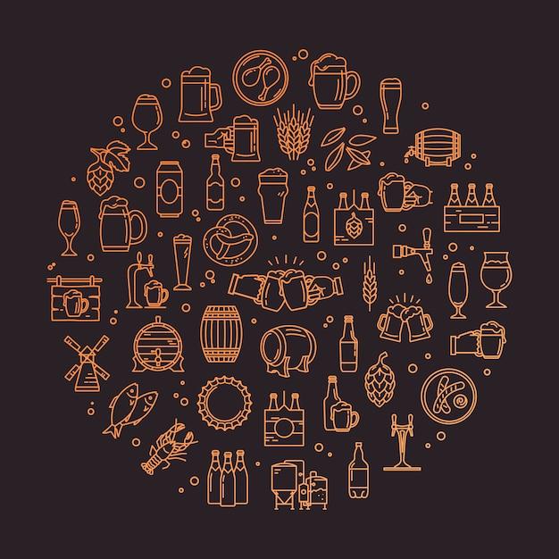 Um conjunto circular de ícones perfeitos de pixel de cerveja artesanal Vetor Premium