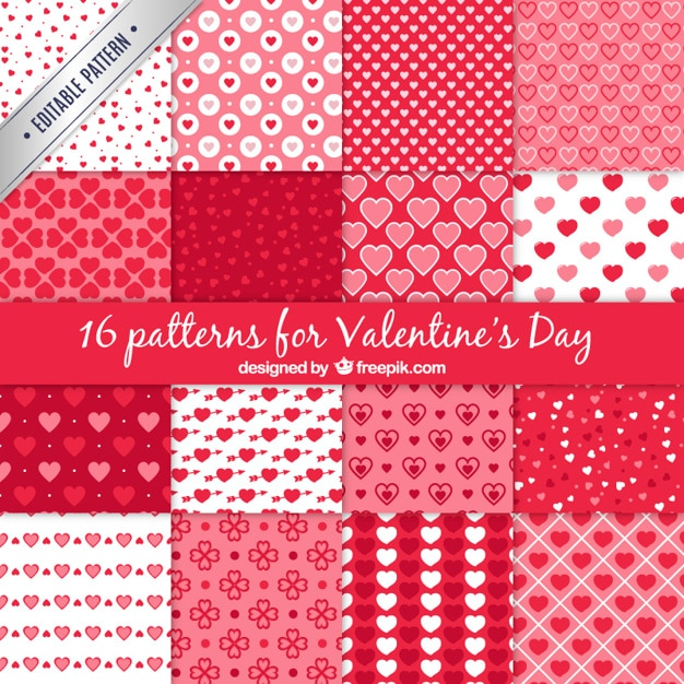 Um conjunto de 16 testes padrões do vetor para o dia dos namorados Vetor grátis