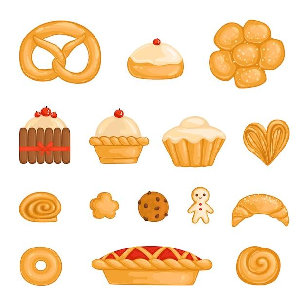 Um conjunto de bagel de produtos assados, pão, bolo, bolinho, pão, biscoito, biscoito de chocolate, biscoito de gengibre, kurasan, donut, bolo de queijo de torta isolado Vetor Premium