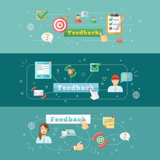 Um conjunto de banners de infográfico web computador horizontal feedback móvel Vetor grátis