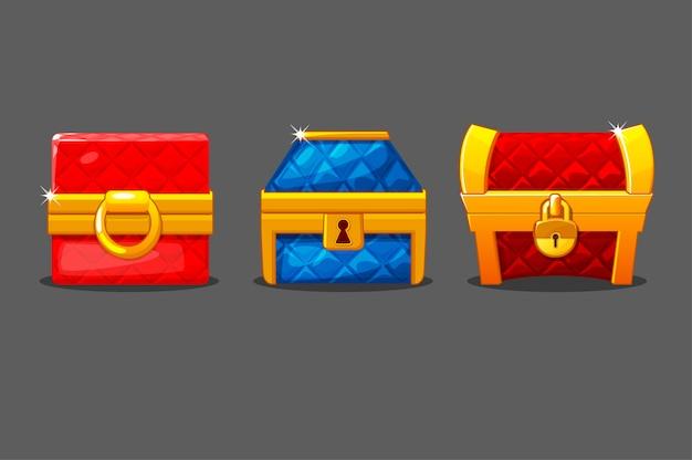 Um conjunto de baús macios isolados de diferentes formas. baús coloridos com fechaduras. Vetor grátis