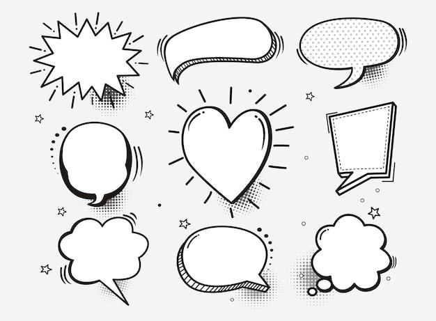 Um conjunto de bolhas do discurso em quadrinhos e elementos com sombras de meio-tom Vetor Premium