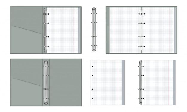 Um conjunto de cadernos realistas com anéis de papel Vetor Premium