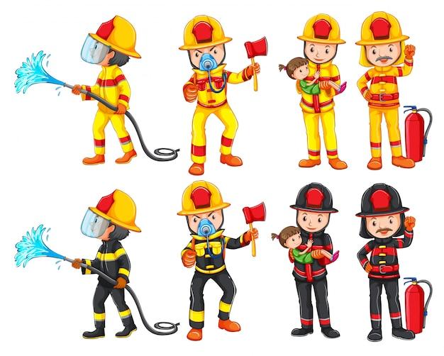 Um conjunto de caracteres de bombeiro Vetor grátis