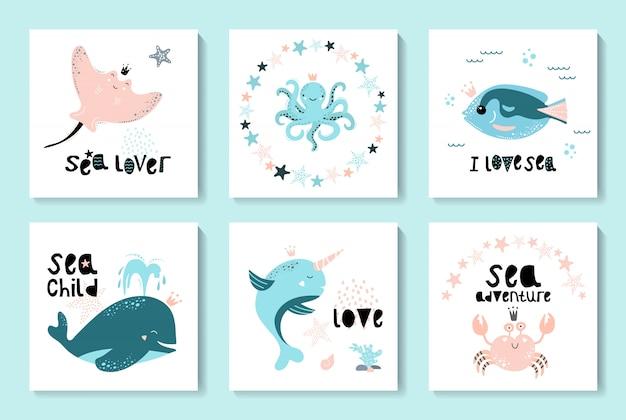 Um conjunto de cartas com animais marinhos e frutos do mar Vetor Premium