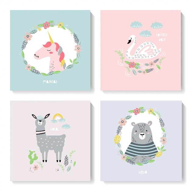 Um conjunto de cartões bonitos com animais. Vetor Premium