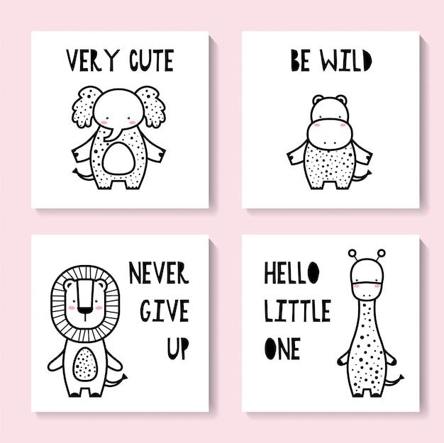 Um conjunto de cartões fofos com animais. girafa, elefante, hipopótamo, leão Vetor Premium