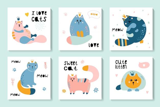 Um conjunto de cartões fofos com gatos Vetor Premium
