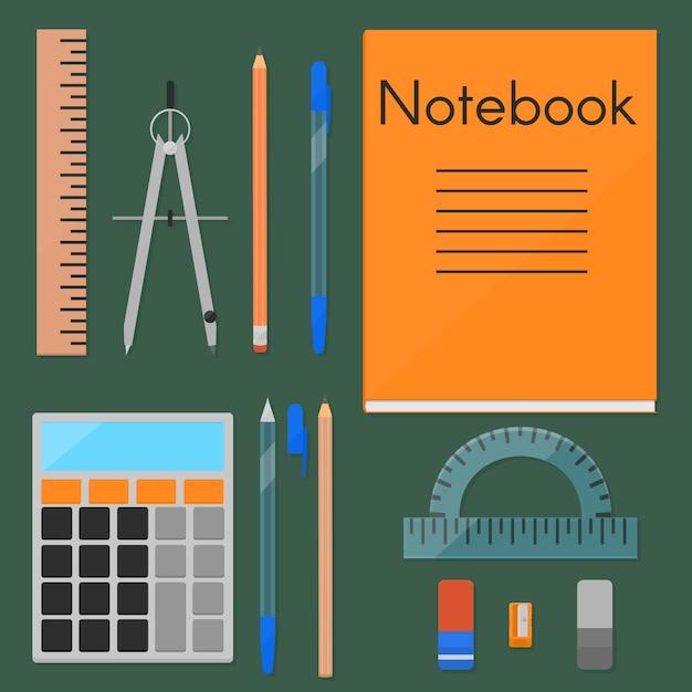 Um conjunto de coisas necessárias para o estudo. Vetor Premium