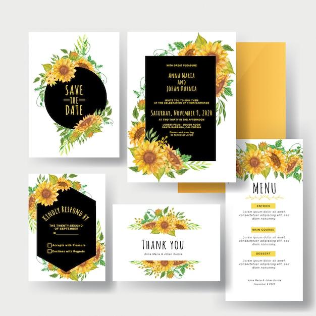 Um conjunto de convites de casamento amarelo lindo girassol Vetor Premium