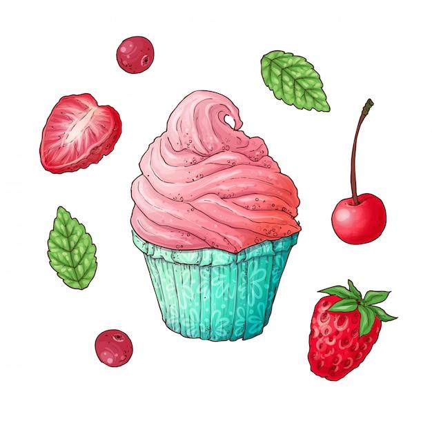 Um conjunto de cupcake de cereja morango. desenho à mão. Vetor Premium