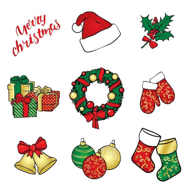 Um conjunto de decorações e acessórios de natal. Vetor Premium