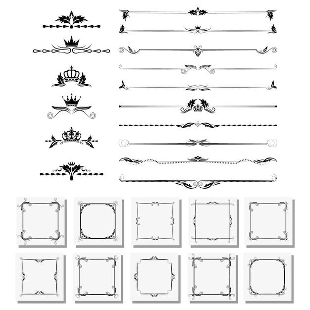 Um conjunto de elementos de design, molduras, divisores, bordas. Vetor Premium