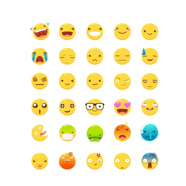 Um conjunto de emoticon amarelo Vetor Premium