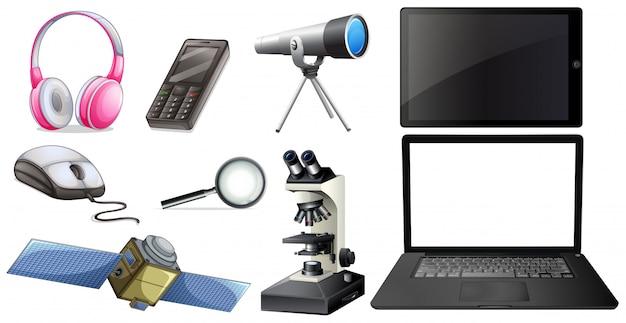 Um conjunto de equipamentos de tecnologia Vetor grátis
