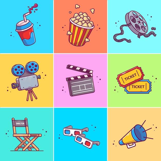 Um conjunto de filme icon ilustração. coleções de conceito de ícones do filme isolado Vetor Premium