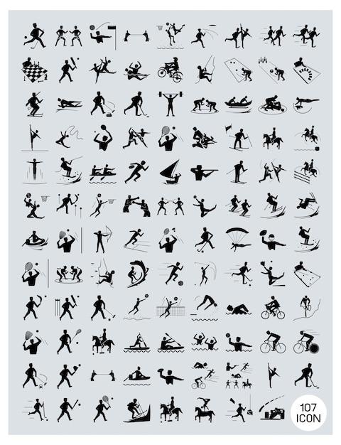 Um conjunto de ícones de esporte preto e cinza Vetor Premium