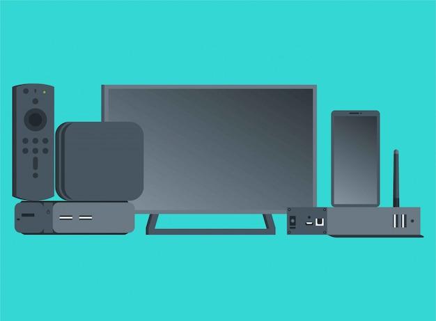 Um conjunto de ilustração plana de itens eletrônicos Vetor Premium