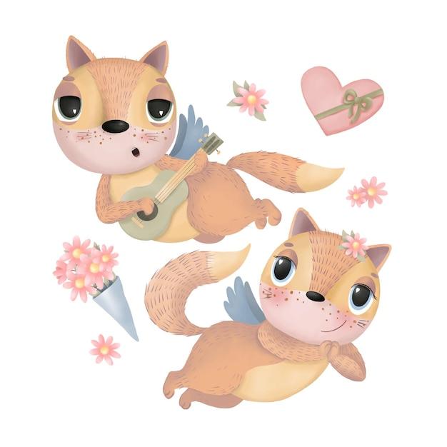 Um conjunto de ilustrações com desenhos de gatos e flores Vetor Premium