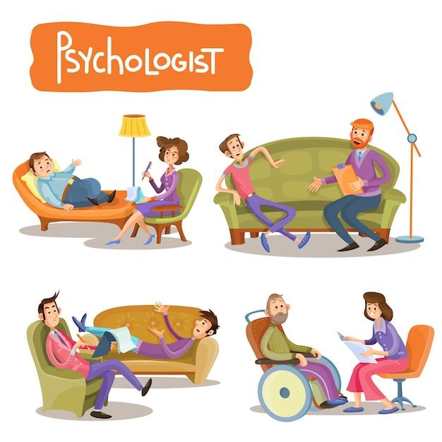 Um conjunto de ilustrações de desenhos animados de vetores, o paciente está falando com um psicoterapeuta, Vetor grátis