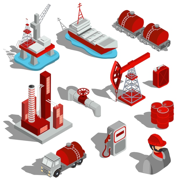 Um conjunto de ilustrações isométricas vetoriais isoladas, ícones 3d da indústria do petróleo. Vetor grátis