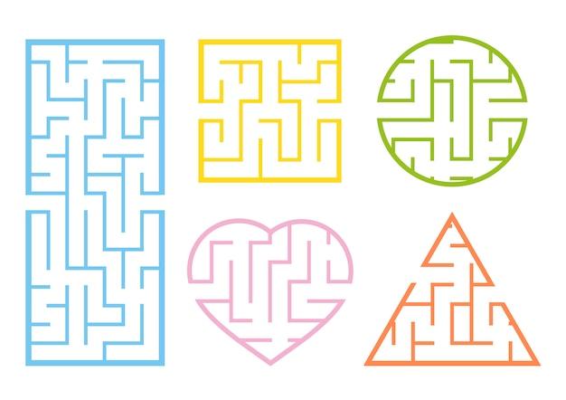 Um conjunto de labirintos. Vetor Premium