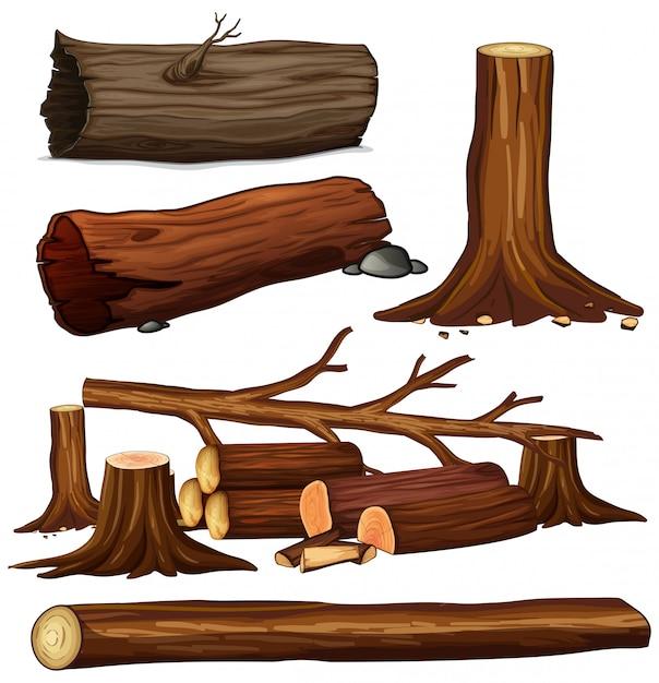 Um conjunto de madeira de árvore Vetor Premium
