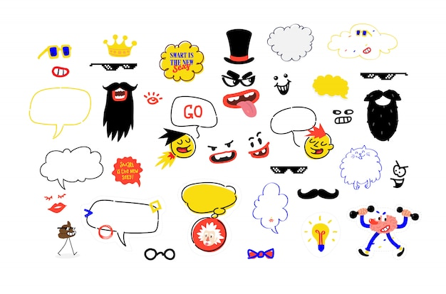 Um conjunto de máscaras para festas. uma ilustração fictícia do bigode, óculos e acessórios para a festa. ilustração vetorial Vetor Premium