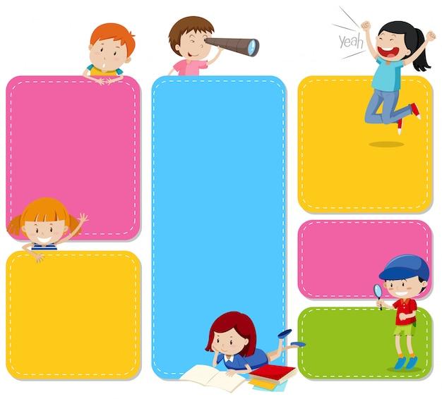 Um conjunto de notas com crianças Vetor grátis