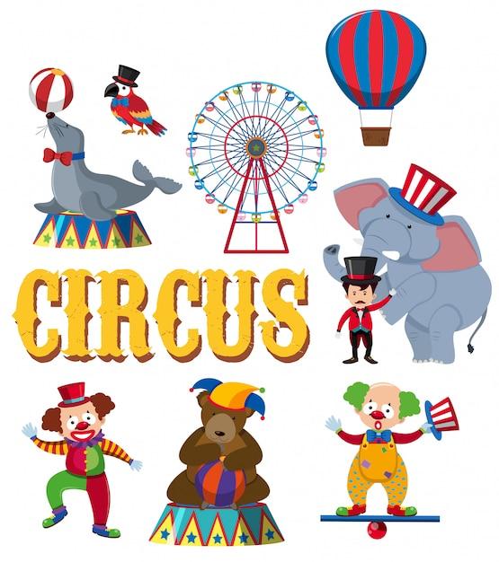 Um conjunto de personagem de circo Vetor Premium