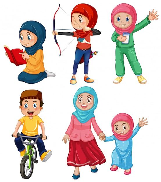 Um conjunto de pessoas muçulmanas Vetor Premium
